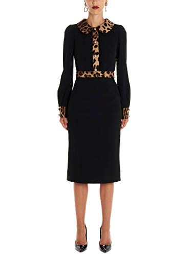 DOLCE E GABBANA Damen F6f3ztfurdvn0000 Schwarz Viskose Kleid - Dolce Gabbana Kleid Schuhe