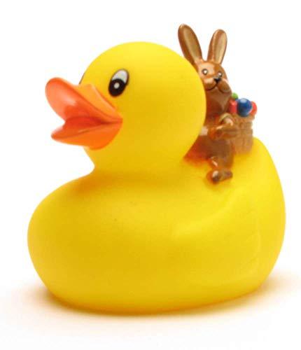 Badeente mit Osterhase I Quietscheente I Duckshop I L: 8 cm - inkl. Badeenten-Schlüsselanhänger im Set