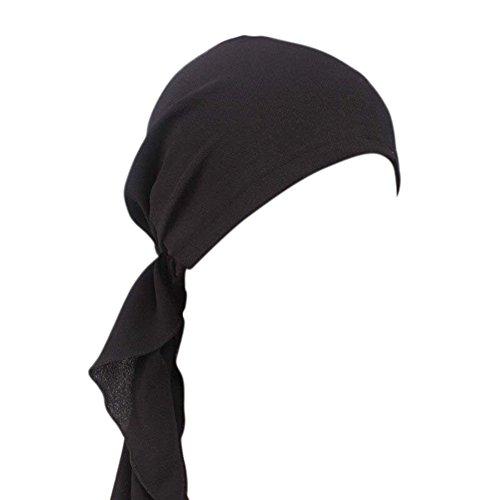 iShine Turban Damen Bandana Mädchen Hut Islamischen Muslim Elastizität mit Stoffdruck Dekoren Anhänger Band für Haarausfall Krebs Chemo Schwarz (Frauen Afrikanische Hüte Für)