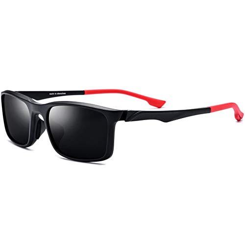 KJDFN TR90 Sportbrille Outdoor Fahrrad Fahren Polarisierte Sonnenbrille Unisex Farbe Brille Beine Grau Objektiv UV400 Schutz Trend (Farbe : Red)