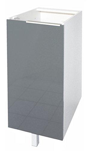 Berlenus CP3BG Küchen-Unterschrank, 1 graue Hochglanz-Tür, 30cm