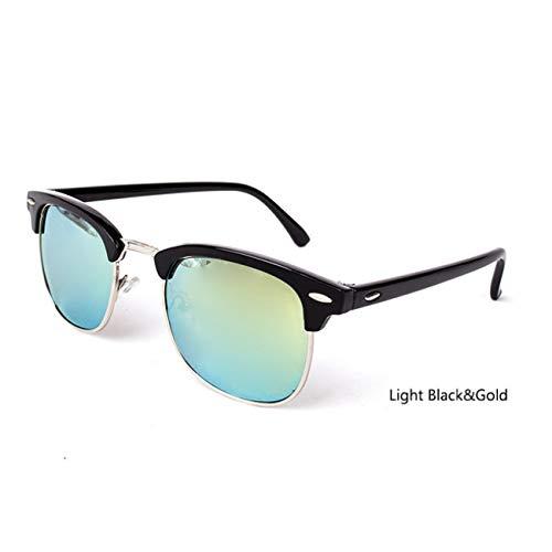 DEFG&FAD Polarisierte Sonnenbrille ohne Rand Damen/Herren Vintage Rice Nail Eyewear Designer-Sonnenbrille, 3016-LightBlack-Gold