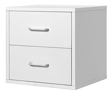 Foremost 327401 Modular 2-Drawer Cube Storage System, White by