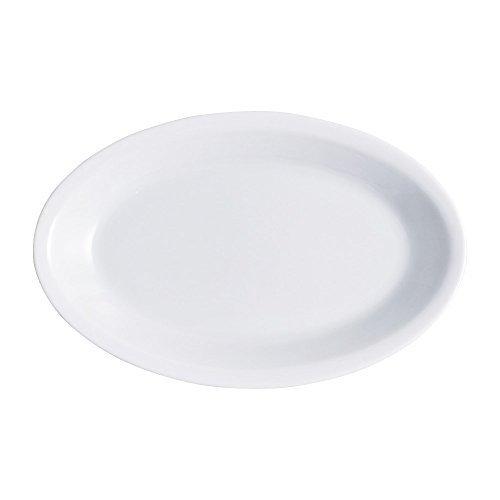 ISAP Lot de 50 Assiettes en Plastique Blanches ovales 19 x 26 cm