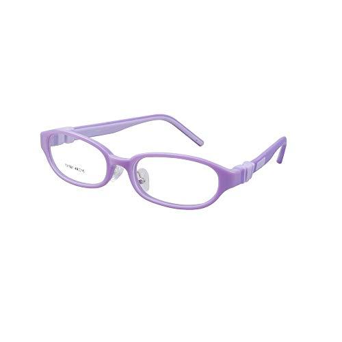 EnzoDate Kinder Brillen Biegsame Plano Linsen Größe 49mm, Kinder Brillen, Silikon TR90 Teens Brille, Unbreakable & Light (lila)