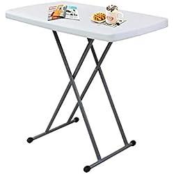 SOTECH - Table Compacte et Pliable, Petite Table Pliante,Matériau: HDPE, Table Pliante Ajustable, Blanc,76 x 50 x 51/63/74 cm, Table de Jardin Plastique