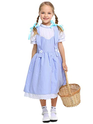 Aus Von Dorothy Kostüm Oz Der Zauberer - Fanessy. Mädchen Damen Dorothy Blue Plaid Kleid Vintage Halloween Dress-up Outfit Zauberer von Oz Kostüm Kind Erwachsene Verkleidung Cosplay Outfits für Fasching Halloween Karneval Party