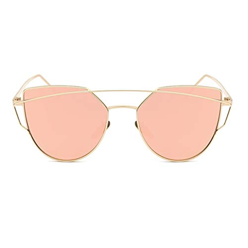 DYFDHA Sonnenbrillen Cat Eye Vintage Brand Designer Rose Gold Mirror Sunglasses For Women Metal Reflective Flat Lens Sun Glasses Female NEW Gold Pink