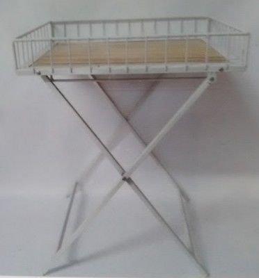 Table APPOINT DESSERTE Basse Industrielle Bois Fer Forge GUERIDON Plateau Pliable Metal
