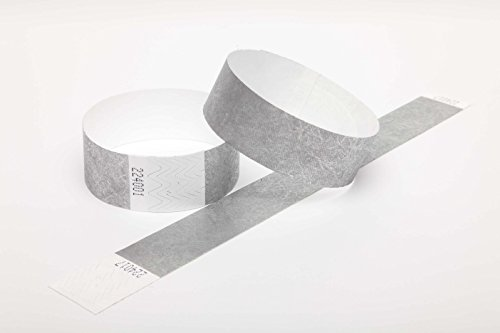 100 Tyvek security paper event wristbands (silver, 1