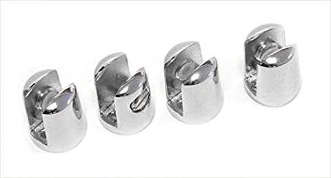 PACK OF 4 Small supports for glass SHELF 4-6mm thick - CHROME plated