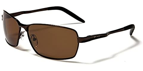 X-Loop polarized men women rectangle metal frame sunglasses Perfect for everyday use or driving Full UV400 Protection Free BeachHutSunglasses microfibre pouch included (glossy copper/black/brown lenses)
