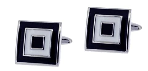 Code Red Men's Base Metal Rhodium Plated with Black and White Enamel Square Cufflinks