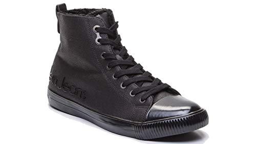 Calvin Klein Jeans - Herren Schuhe Sneaker Anton Canvas s0490, Schwarz - Schwarz - Größe: 45 EU (Calvin Klein Stiefel Männer)
