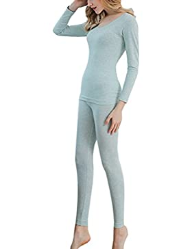 Zhhlinyuan Women's Thermal Underwear Sets Cotton Long Sleeve Base Layer T-Shirt Camiseta y Pantalón Térmica para...
