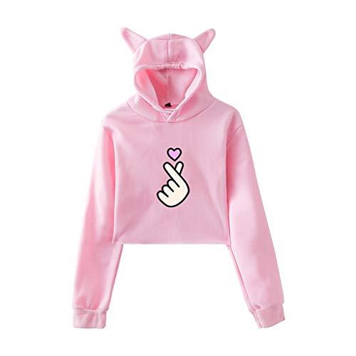 TWISFER Herbst Winter Mode Teenager Mädchen Niedlich Cat Ear Hut Langarm Drucken Hoodie Sweatshirt mit Kapuze Pullover Einfarbig Crop Tops Bluse -