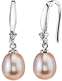 9mm Pink Freshwater Cultured Pearl & Crystal Ally Earrings