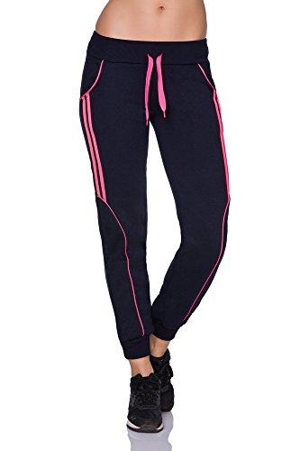 FUTURO FASHION - Pantalon de sport - Tapered - Femme noir noir/rose Bleu marine/rose