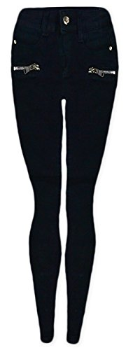 Generic Girls Zip Black Skinny Jeans Black 7-8 Years