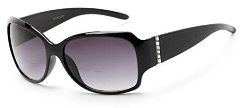 +2.00 Womens Bifocal Reading Sunglasses Sun Readers Oversize Black Frame UV400 Tinted Lens Glasses + Case