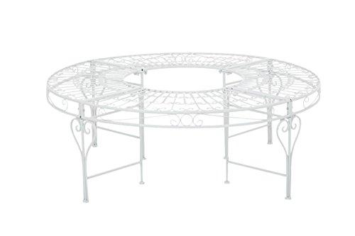 CLP Banc de Jardin Rond NYIMA sans Dossier en Métal Verni - Banquette de Style Nostalgique Ø130 cm (Extérieur) - Banc Circulaire 360° pour Arbre - Couleurs au Choix: Blanc