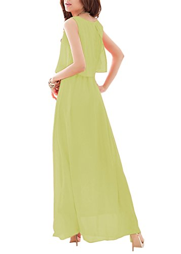 Sommerkleider Damen Chiffon Langes Rock-Kleid Retro Beachwear Abendkleid Lang Ärmellos Bohemian Chiffonkleid Freizeitkleider Foto Color