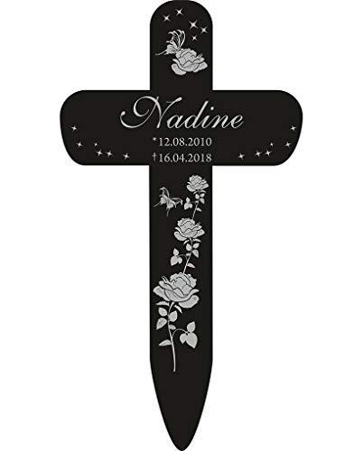 Livingstyle & Wanddesign Personalisiertes Grabkreuz mit Rosen 3 in Schwarz, klein 25 x 13,5 cm