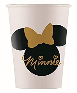 PROCOS 90724 Minnie Mouse - Vasos de cartón (8 Unidades), diseño de Minnie Mouse, Color Blanco y Negro