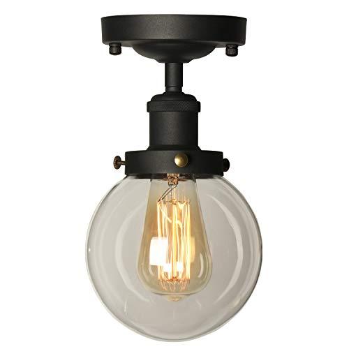 TANGSHI Industrial Vintage Metal & Vidrio Luz Colgante de Retro Lámpara de Techo para Sala Comedor Dormitorio Estudio Balcón