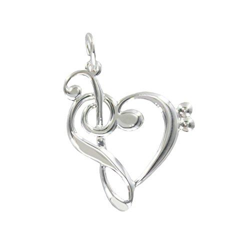 Anhänger Violinschlüssel und Bassschlüssel in Herzform 925/000 Silber - Schönes Geschenk für Musiker