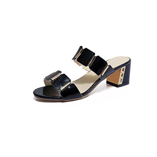 DM&Y 2017 ruvida femmina con i sandali casuali solidi pesce sandali della testa di moda Black