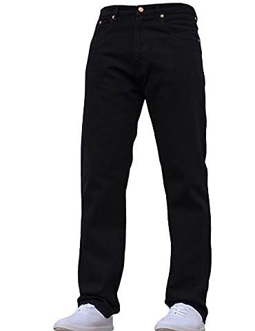Mens Straight Leg Heavy Duty Work Basic 5 Pocket Plain Denim Jeans Pants All Waist & Sizes Black 30W X 33L
