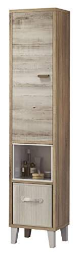 Armario auxiliar o columna para baño o aseo en color pino y cambrian 170x36x31cm