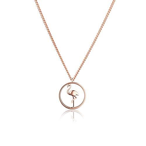 PAUL HEWITT Kette Damen Rosegold Tropicool - Damen Halskette Rosegold, Kette Rosegold Damen vergoldet mit Flamingo-Anhänger