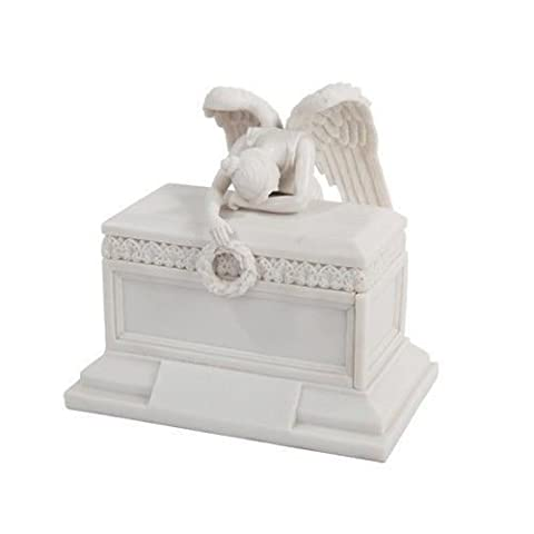 Angel of Bereavement Figurine Box Urn Keepsake Statue by PTC