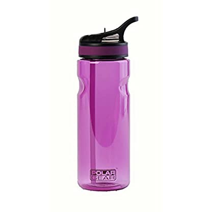POLAR GEAR Aqua Grip, BPA-Free Reusable Drinking Water Bottle & Foldable Straw, Sturdy, Leakproof and Dishwasher Safe, Sports Eco-friendly Tritan Plastic Bottle with Loop Attachment, Black 650ml 1