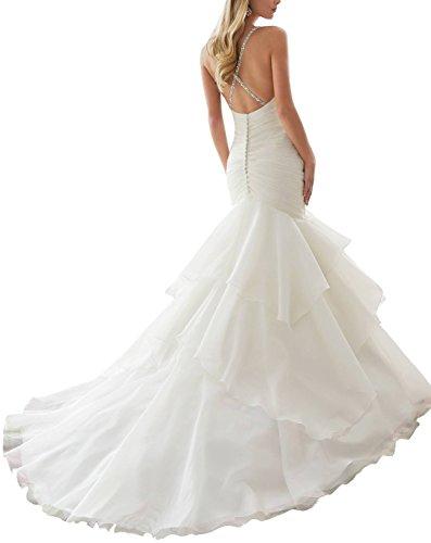 maintenant et à jamais en perles fines réglables Robe de mariage à volants Blanc