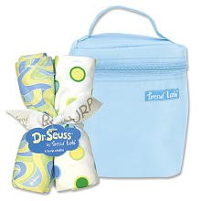 Trend Lab Dr. Seuss Bottle Bag and Burp Cloth Set - Blue