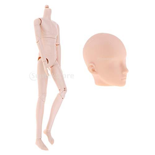 Baoblaze 1/6 Flexible Nackte Männliche Puppe Körper mit 20 Gelenke und Kopf Sculpt Modell - 27 cm