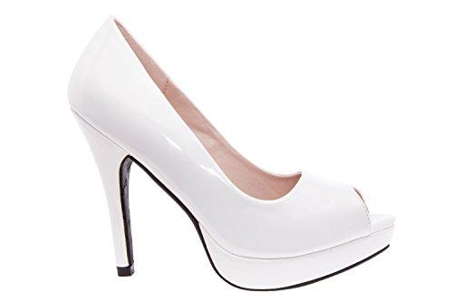 Andres Machado.AM5003.Peep-Toes en Soft.Pour Femmes.Petites et Grandes Pointures de la 32/35-42/45. CharolBlanco