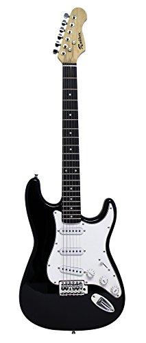 Rockburn - Chitarra elettrica del tipo Stratocaster, colore: Nero