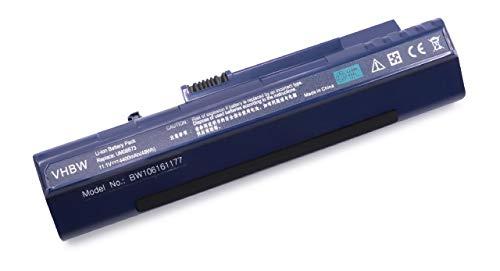 vhbw Batterie Li-ION 4400mAh (11.1V) Bleu foncé pour Notebook Laptop Acer Aspire One D150, D210, D250, ZG5 comme LC.BTP00.017.