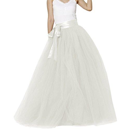 Matrimonio Donna pavimento lunghezza tulle sposa gonna con fiocco Ivory