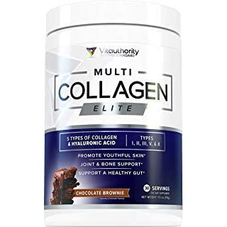 Multi Collagen Elite Powder: Anti Aging Youth Powder | Hyaluronic Acid and Hydrolyzed Collagen Protein Peptides from Beef, Marine, Chicken, Eggshell, Types I II III V X, Chocolate Brownie, 30srv