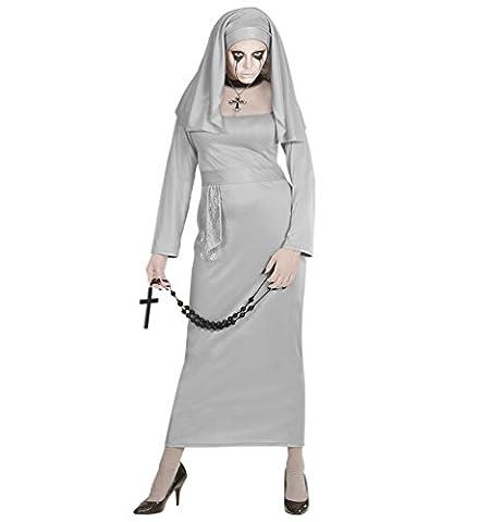 Karneval Klamotten Zombie Nonne Kostüm Zombie Nonne Halloween Damenkostüm Größe 42/44 (Graue Geist Kostüm)