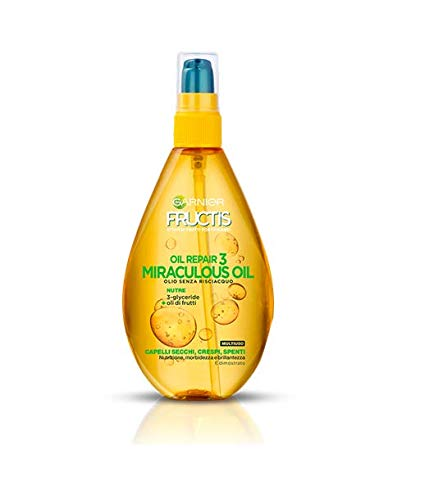 Garnier Fructis Oil Repair 3 Miraculous Oil- Olio senza Risciacquo per capelli secchi, 150 ml