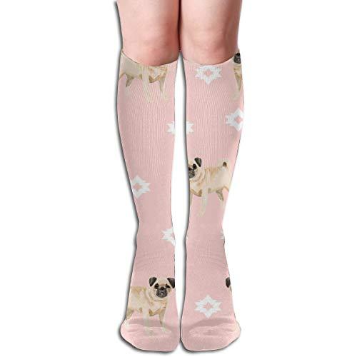 Preisvergleich Produktbild best gift Pug Dog Breed Watercolor Pet Popular Dog Lover Gifts For Pugs Pink Men's Women's Cotton Crew Athletic Sock Running Socks Soccer Socks 19.7 inch