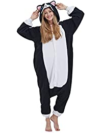 Kigurumi Pijama Animal Entero Unisex para Adultos con Capucha Cosplay Pyjamas Gato Negro Ropa de Dormir