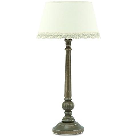 Peralta vidavi Beleuchtung–Tischleuchte, Holz, 60W, E27 63 x 30 x 23  cm Ceniza y algodón