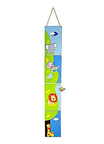Mousehouse Gifts Metri da Parete Righello di Altezza Grafico in Legno per Bambini a Tema Safari Animali Metro per la cameretta o la Stanza da Letto di Bambini e Bambine